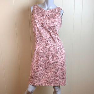Vintage 90s White Sheath Dress w/ Pink Floral